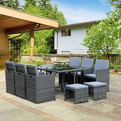 Outsunny Outdoor 11 Piece PE Rattan Wicker Table and Chair Patio Furniture Set