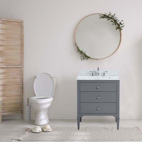 "30"" Freestanding Grey Bathroom Vanity with White Carrara Marble Top"