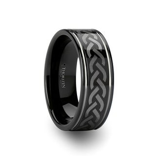 KILMORE Black Tungsten Carbide Ring with Celtic Pattern
