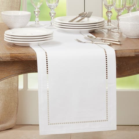 Table Runner With Laser-Cut Hemstitch Design