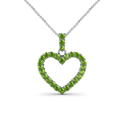 TriJewels Gemstone 18 Inches Gold Chain Heart Pendant Necklacea