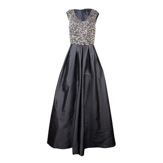 Aidan Mattox Women's V-Neck Sequined Taffeta Gown - Charcoal - 6
