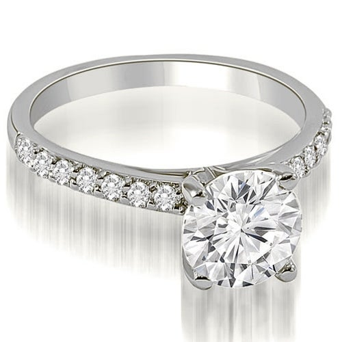 1.20 cttw. 14K White Gold Round Cut Diamond Engagement Ring