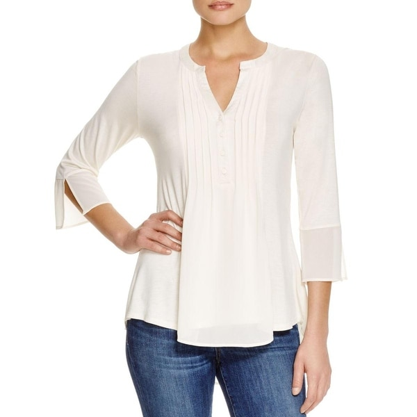 Avec Womens Blouse High-Low Pleated Front