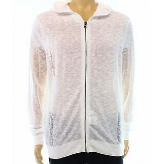 INC NEW White Pure Mens Size Large L Hooded Mesh Full Zip Sweater