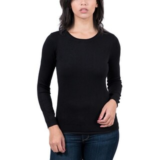 Real Cashmere Black Crewneck Womens Sweater