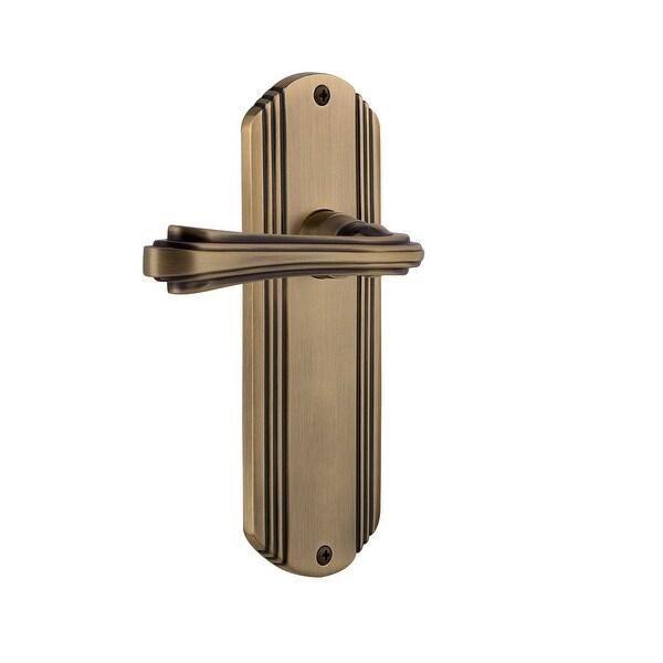 """Nostalgic Warehouse DECFLR_PRV_238_NK Fleur Privacy Door Lever Set with Deco Rose for 2-3/8"""" Backset Doors"""