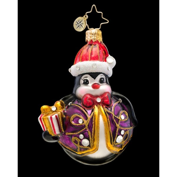 Christopher Radko Glass Penny Go Round Penguin Christmas Ornament #1017235
