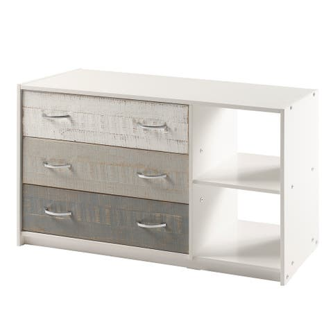 Two Tone 3 Drawer Chest with Shelves in Grey & White