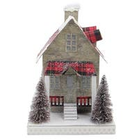 "10"" Holiday Moments Lit with LED Tartan House Christmas Decoration – Warm White Lights - brown"