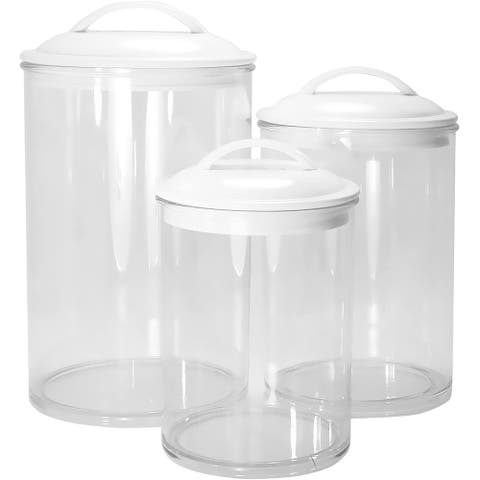 Calypso Basics by Reston Lloyd Acrylic Storage Canisters, Set of 3, White - 5.5 x 5.5 x 9.5 inches