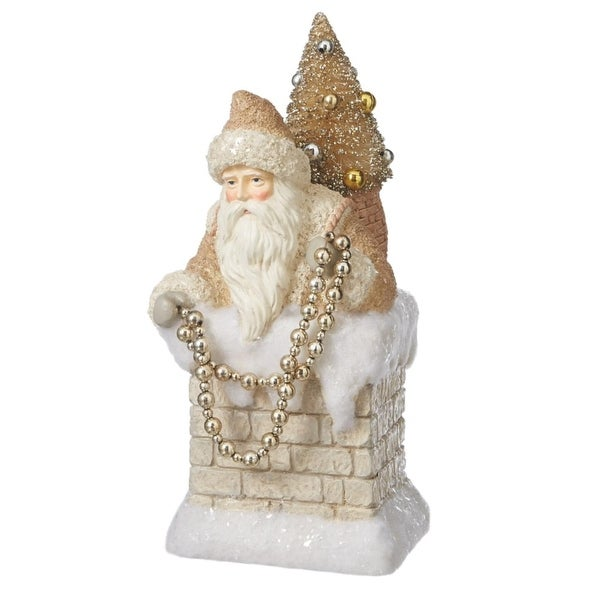 """11.5"""" Cream and Gold Glitter Vintage Santa in Chimney Christmas Table Top Decoration - WHITE"""