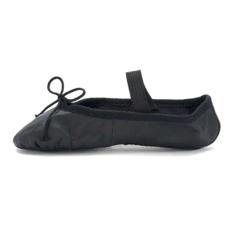 Kids Leo Girls Ballet Russe Leather Low Top Slip On Dance Shoes