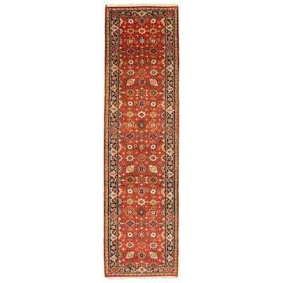 ECARPETGALLERY Hand-knotted Serapi Heritage III Red Wool Rug - 2'8 x 10'0