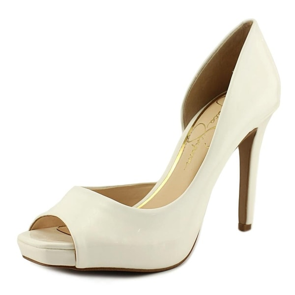 0b2eeddb6d Shop Jessica Simpson Jaselle Women Peep-Toe Synthetic White Heels ...