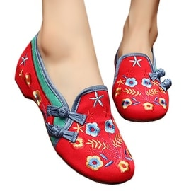 Starry Old Beijing Embroidered Cloth Shoes red