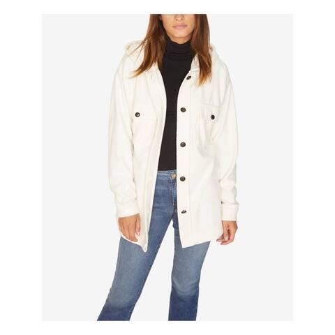 SANCTUARY Womens Ivory Kennie Hooded Fleece Jacket Size: S