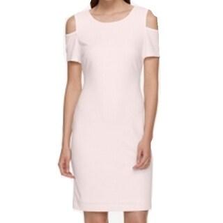 Tommy Hilfiger NEW Pink Womens Size 10 Cold-Shoulder Seamed Shift Dress