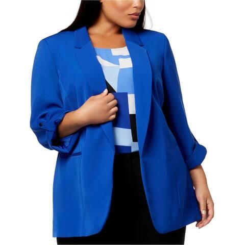 Nine West Womens Open-Front Blazer Jacket, Blue, 2X