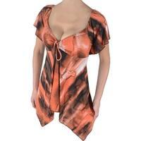 Funfash Plus Size Copper Caramel Empire Waist Womens Top Shirt Blouse