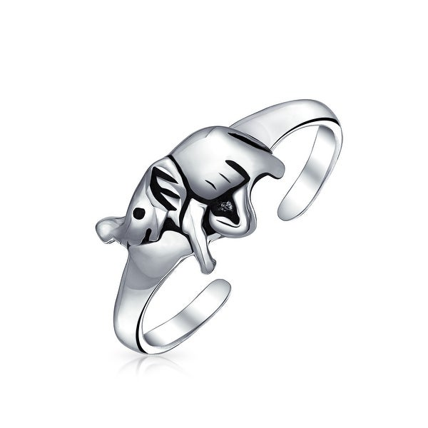 Lucky Elephant Shape Craved Midi Toe Ring For Women For Teen Oxidized 925 Silver Sterling Adjustable