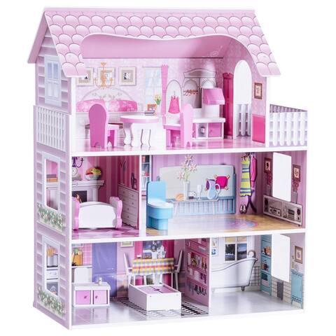 "28"" Pink Dollhouse w/ Furniture"