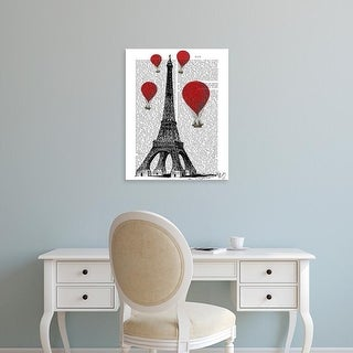Easy Art Prints Fab Funky's 'Eiffel Tower and Red Hot Air Balloons' Premium Canvas Art