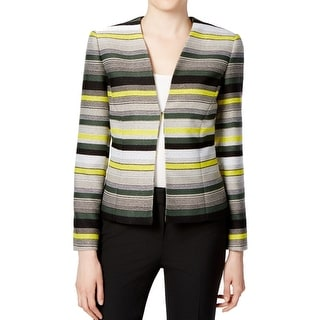 Tahari By ASL NEW Green Black Women's Size 12 Tweed Striped Jacket