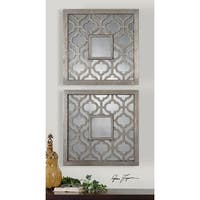 """Set of 2 Silver Leaf and Black Undertoned Square Designed Wall Mirrors 20"""""""