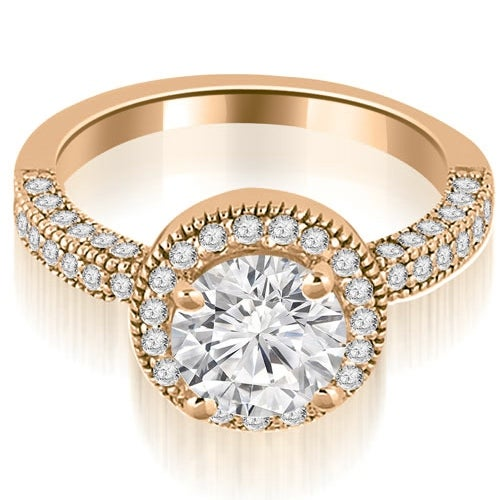 1.35 cttw. 14K Rose Gold Halo Round Cut Diamond Engagement Ring
