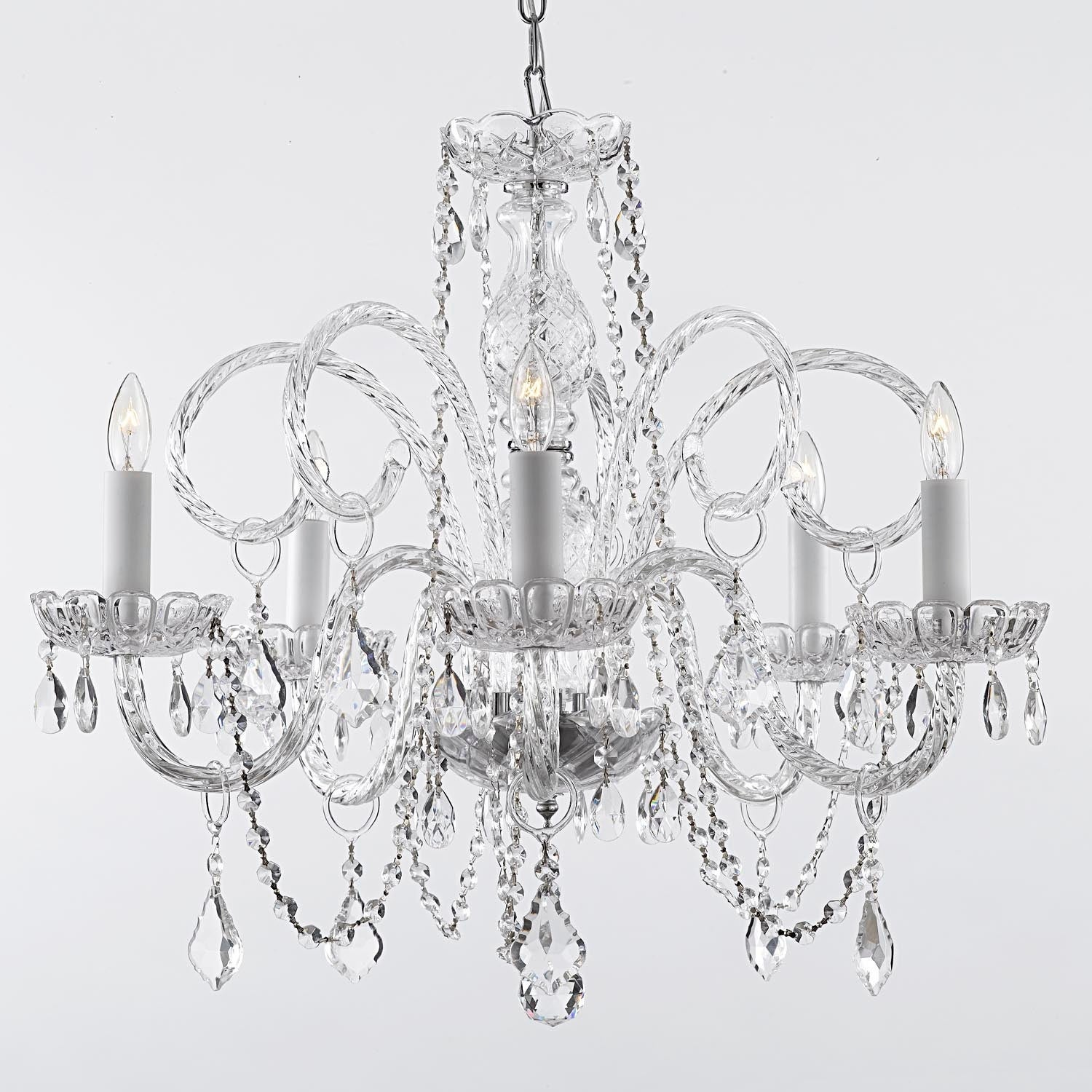 Swarovski Elements Crystal Trimmed French Empire Plug In Chandelier H25 x W24 - Thumbnail 0
