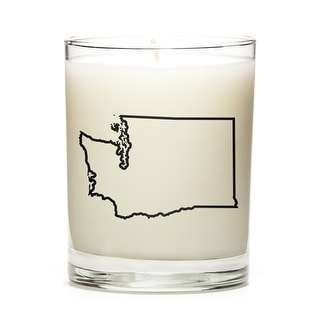 Custom Candles with the Map Outline Washington, Fresh Linen