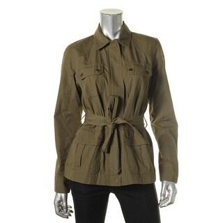 L-RL Lauren Active Womens Military Jacket Multi-Pocket Zip-Front