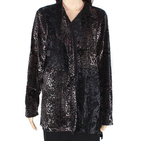 Erin London Womens Sweater Black Size Large L Cardigan Shimmer Printed