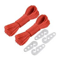 Laundry Outdoor Nylon Hanging Clothes Rope Line Clothesline Red 10m Length 2pcs