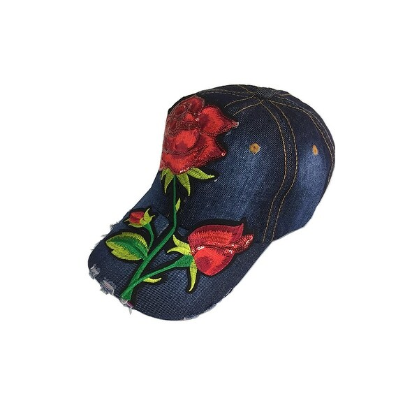 Embroidery Flower Baseball hat Denim Adjustable Cap. Opens flyout.