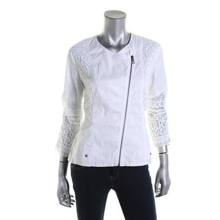 XCVI Womens Long Sleeves Lace Trim Blazer