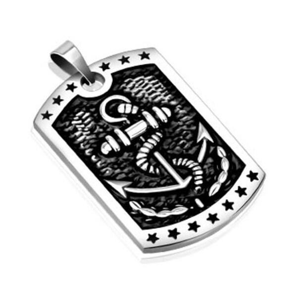 Marine Anchor Cast Dog Tag Stainless Steel Pendant (26 mm Width)