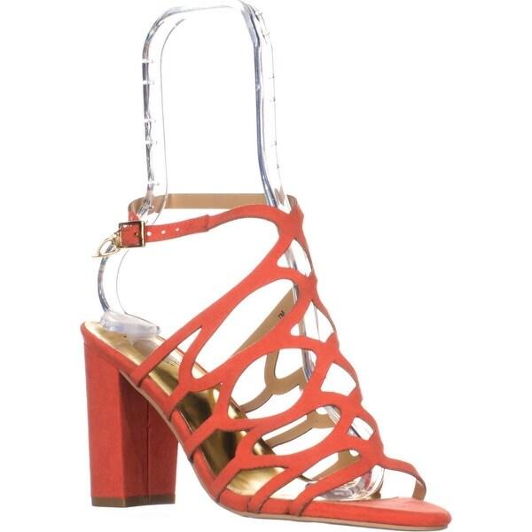 TS35 Kiarah Block-Heel Dress Sandals, Coral - 7 us