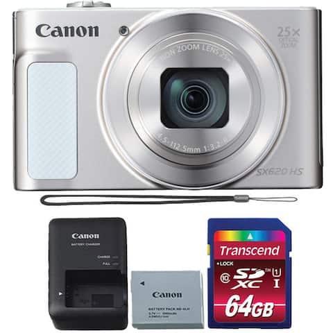 Canon PowerShot SX620 HS 25X Zoom Digital Camera Silver 64GB Kit