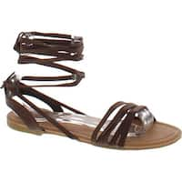 Spirit Moda Olivia-18 Over Toe Strap Sandals Wrap Around Womens Lace-Up Casual Roman Strappy