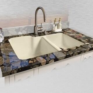 "Miseno MCI35-0UM 33"" Double Basin Undermount Cast Iron Kitchen Sink - n/a"