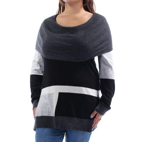INC Womens Black Color Block Long Sleeve Cowl Neck Sweater Plus Size: XL