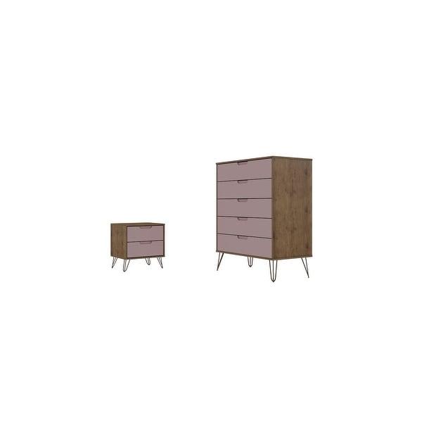 Manhattan Comfort Rockefeller 5-Drawer Dresser and 2-Drawer Nightstand Set