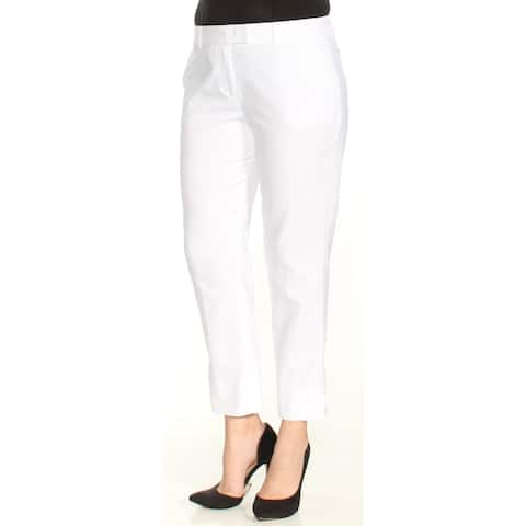DKNY Womens White Flat Front Wear To Work Pants Size: 4