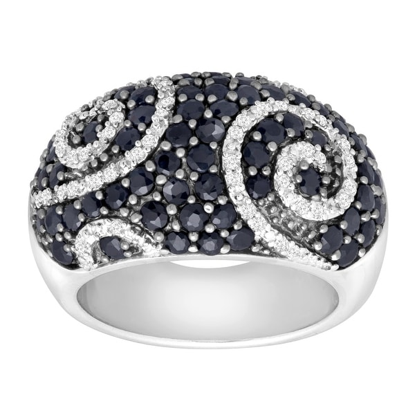 2 5/8 ct Natural Sapphire & 1/4 ct Diamond Swirl Ring in Sterling Silver - Blue