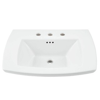 "American Standard 0445.008  Edgemere 25"" Fireclay Pedestal Bathroom Sink with 3 Faucet Holes at 8"" Centers and Overflow - White"
