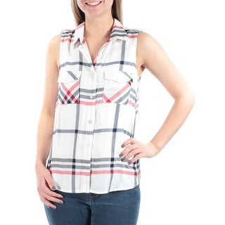 STOOSH Womens New 1021 Red Plaid Collared Button Up Top Juniors M B+B