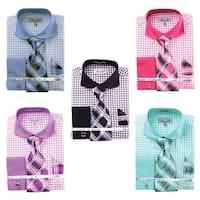 Men's Check Tone On Tone French Cuff Shirt w Cufflinks