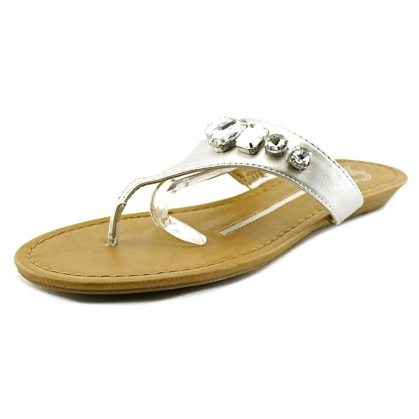 New Directions Dazzle Women Open Toe Synthetic Silver Thong Sandal